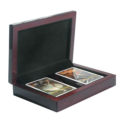 PIANO - Glossy Finish Rosewood Playing Cards Box Empty